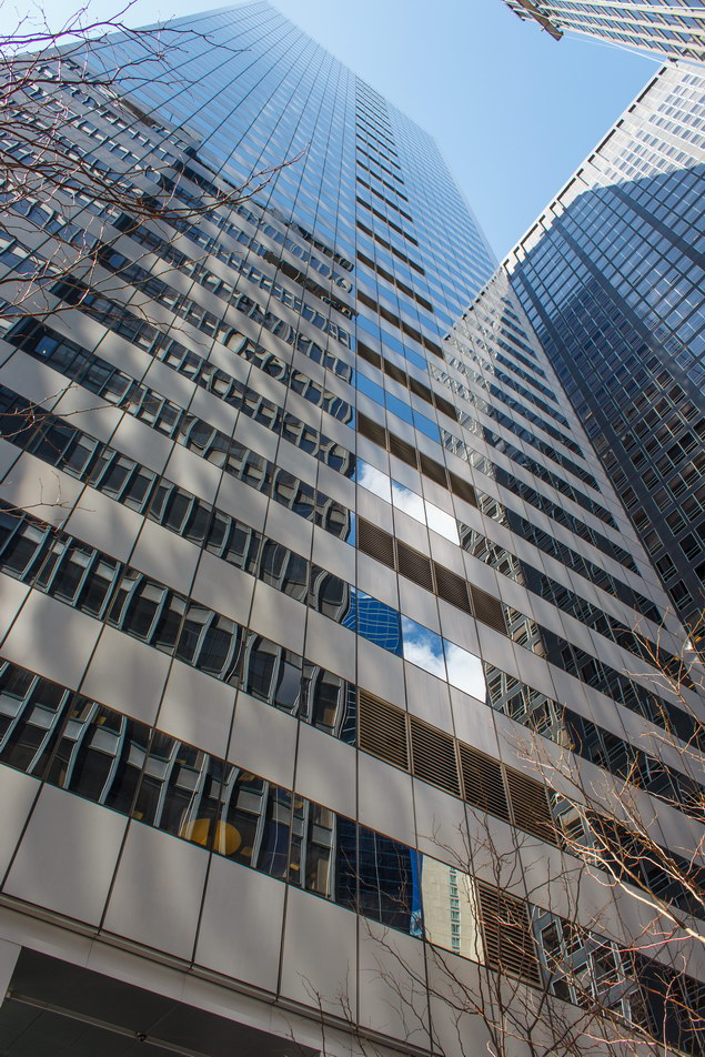 The glass-and-aluminum east facade.