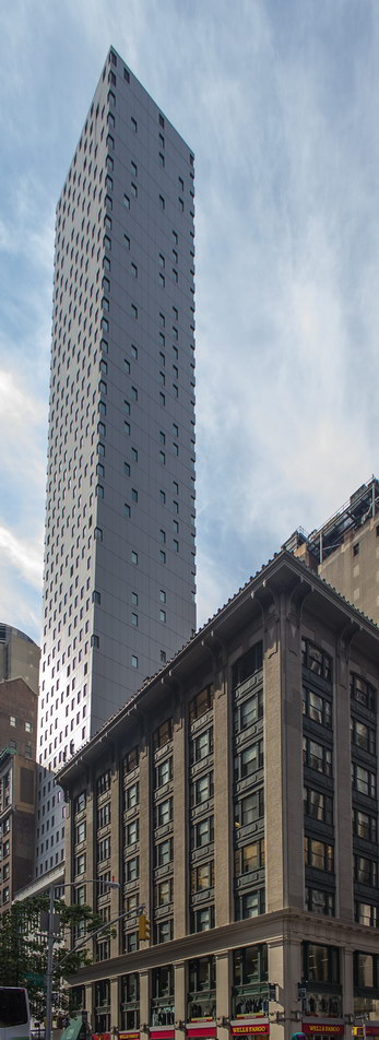 Cassa NY's front facade tapers back slightly from W45th Street.