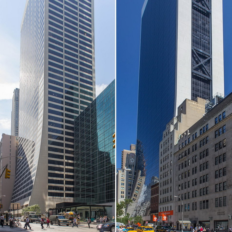 W.R. Grace Building (l) and Solow Building (r) have similar profiles - same architect: Gordon Bunshaft of Skidmore, Owings & Merrill.