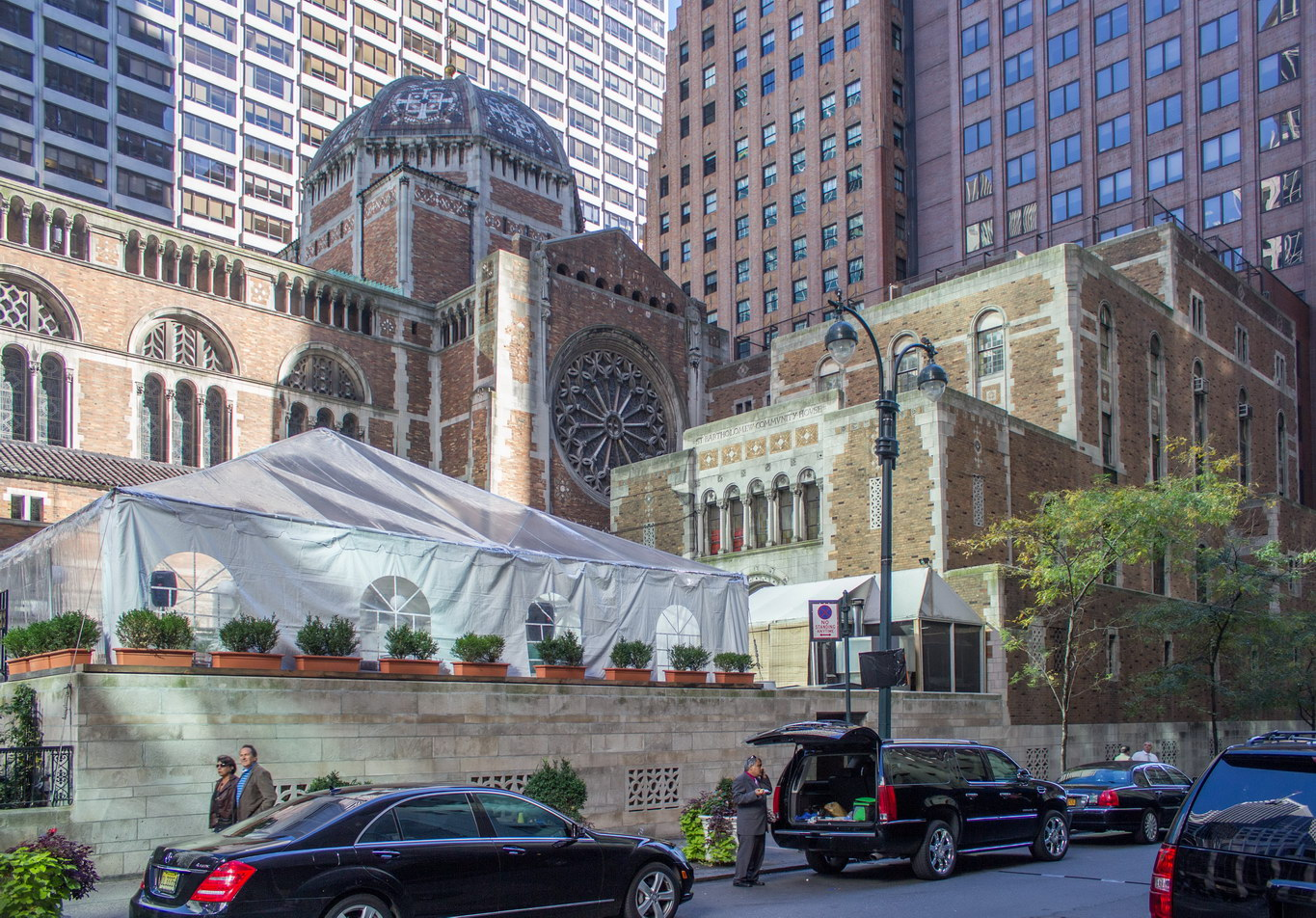 St. Bartholomew's Church - Park Avenue between E50th and E51st Streets. Community House is the building at right.