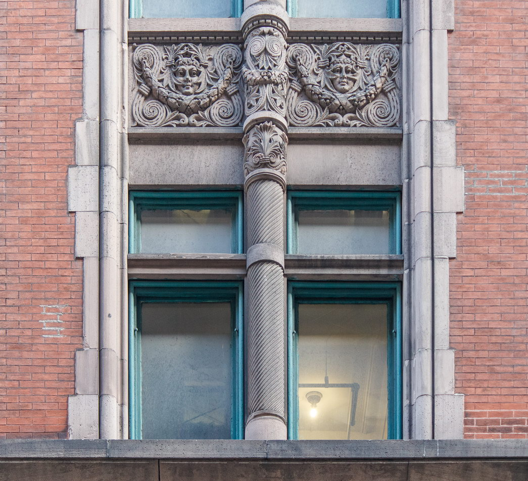 Spandrals (decorative panels between windows) are all different.