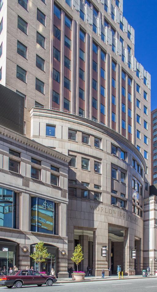 One Worldwide Plaza's Eighth Avenue facade.