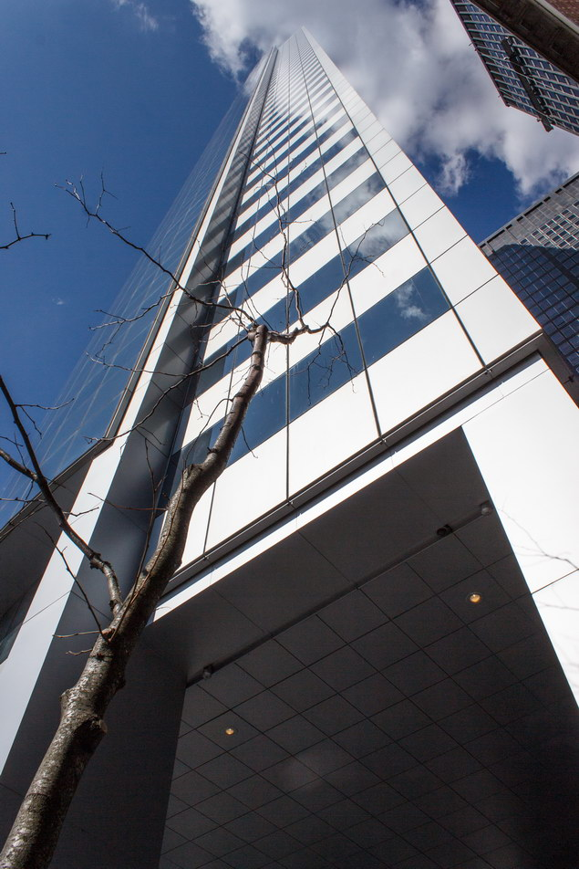 At the southeast edge, the aluminum and glass facade turns the corner.
