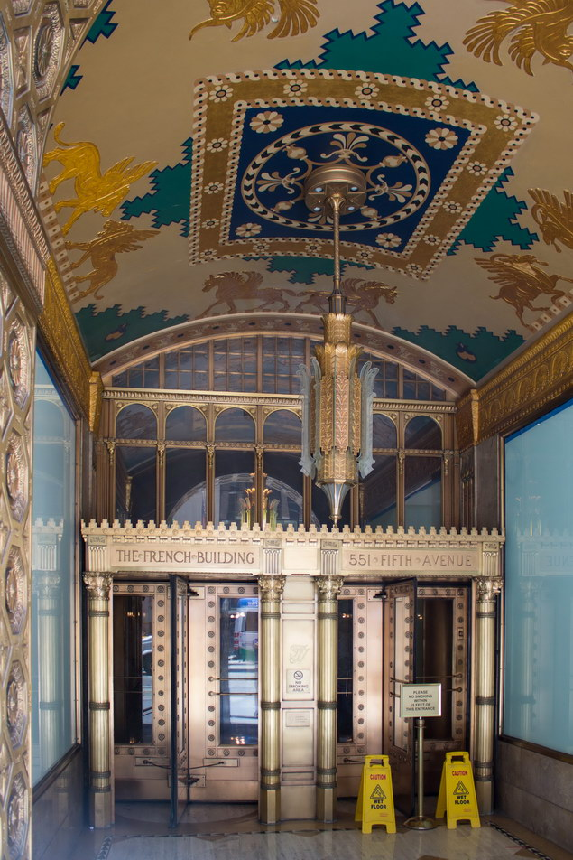 Ornate Fifth Avenue vestibule.