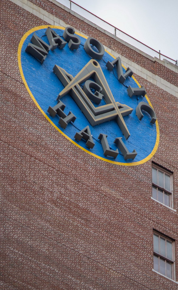 Masonic Hall logo - on rear of Masonic Building.