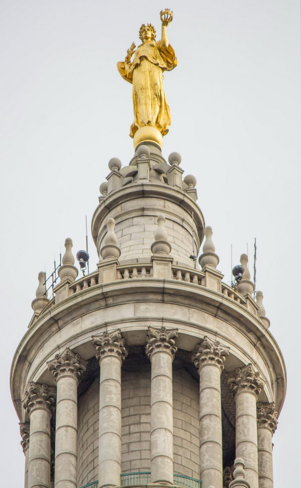 "The ""Civic Fame"" statue is gilded copper sheets over an iron frame - like the Statue of Liberty, minus the gilding."
