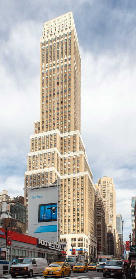 Nelson Tower's distinct white crown is visible from throughout the Garment District.