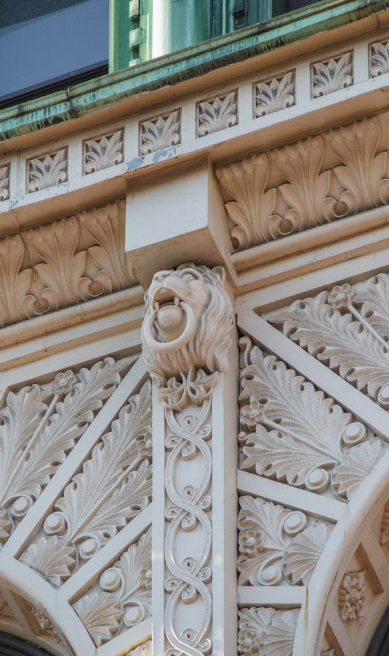 Deeply incised detail in the terra cotta (wonderfully restored!).