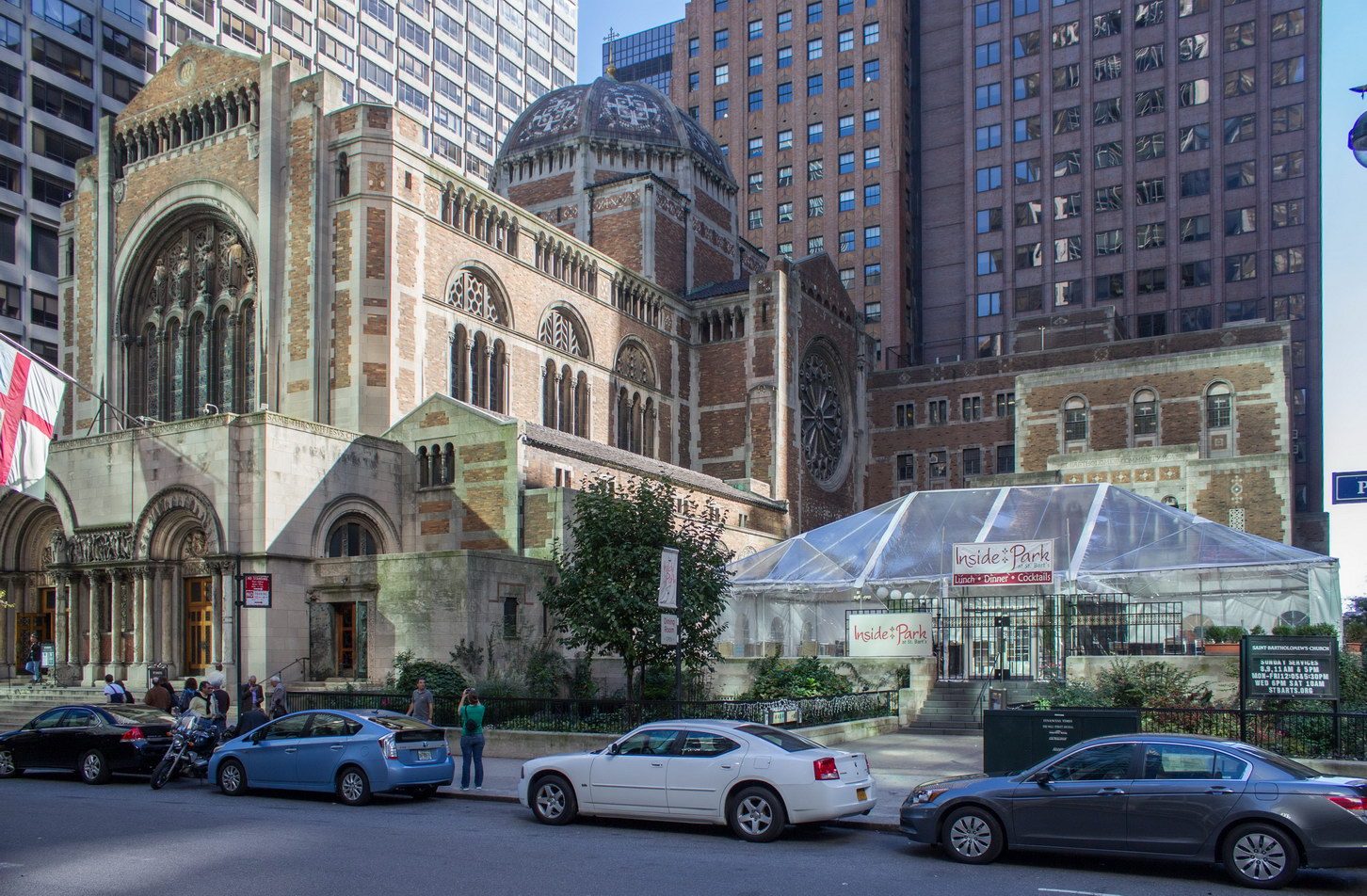"St. Bartholomew's Church - Park Avenue between E50th and E51st Streets. Restaurant ""Inside Park"" is on the Community House terrace."