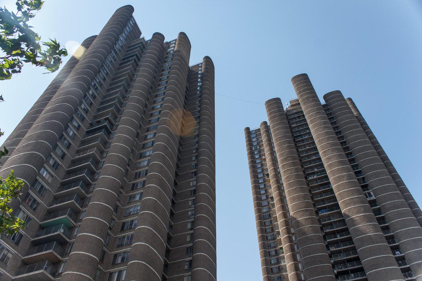 Unadorned concrete block facades are stark forms.