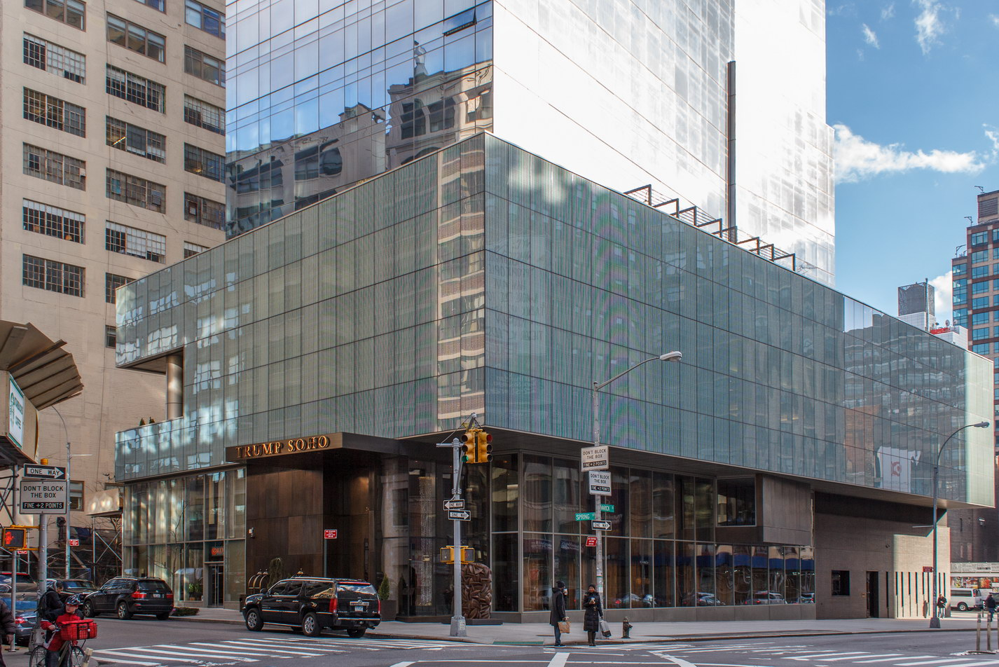 Trump SoHo fills the western end of the block between Spring and Dominick Streets at Varick Street.