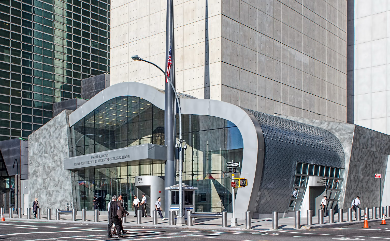 The public entrance is on UN Plaza (First Avenue); staff enter on E 45th Street.